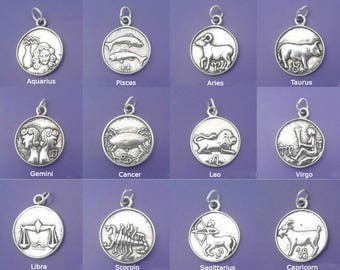 ZODIAC Charm .925 Sterling Silver Astrology Sign Symbol 2-Sided Pendant - Your Choice