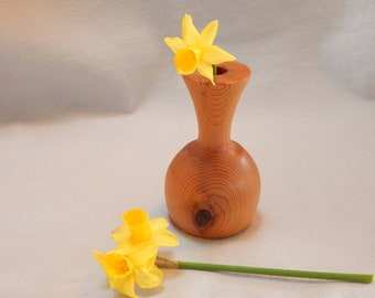 Graduation gift. gift for her, brown cedar bud vase. Can be used dry or with insert for water. turned off-round