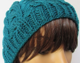Dark Teal Cable Knit Beanie