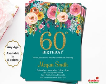 60th Birthday Invitations, Surprise 60th Birthday Invitations, Birthday Invitations for Women, Floral Birthday Invitation, Gold Glitter, A15