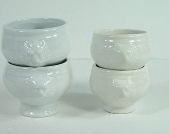4 lions head little bowls 2 different sizes white china ceramic dips, sauce dish, condiment dish vintage