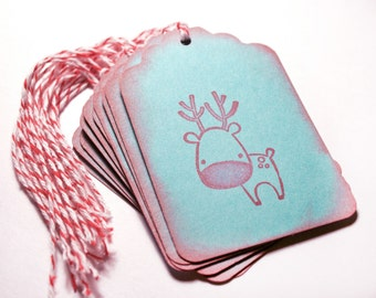 Reindeer Tag Set 10 Blank holiday gift present tag christmas party red teal