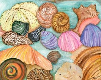 Shells watercolor painting original, Seashells Painting, 8 x 10 water color painting of seashells, beach decor