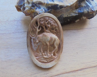Deer Pendant, Deer Carving in Brown Color, Bali Bone Carving Jewelry P50-2
