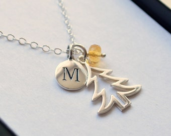 Christmas Tree Necklace, Personalized Initial, Girls Teens Women, Sterling Silver, Gemstone, Custom Birthstone, Holiday Jewelry