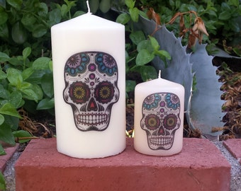 Day of the Dead Sugar Skull Pillar Candle Set