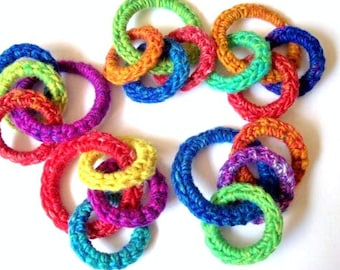Cat and Ferret Toy, Unique Recycled Rings, Rainbow Colors, Gift for Cats and Ferrets