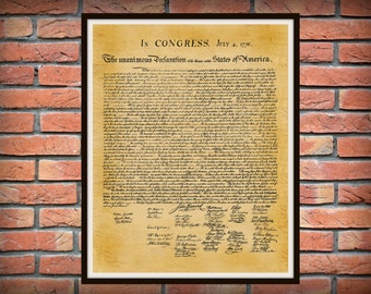 United States Declaration of Independence Document Reproduction - Historical American Document - American History - John Hancock
