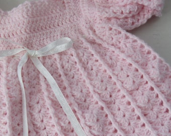 Hand Crocheted Baby Dress/Pastel Pink/6-12 Month/Baby Shower Gift