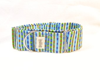 "Martingale Greyhound Collar Aqua Blue Bar Striped Martingale Collar 2"" Wide"