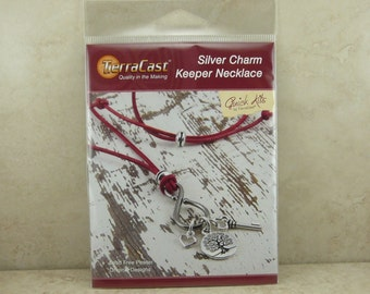 TierraCast Quick Kit Charm Keeper Necklace - Leather Silver Tree of Life Heart Key - American Made Lead Free Pewter - I ship Internationally