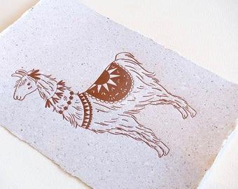 Llama letterpress print, fine art print, animal illustration, children's room decor, No drama llama, hand made paper, made in Australian