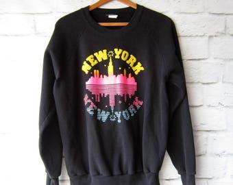 Vintage New York Sweatshirt SIZE LARGE - Crew Neck Black Pullover