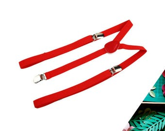 Slim Red Suspenders