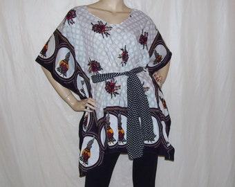 Kanga Tunic African Fabric Usinitese Boho Shirt Polka Dot Black White Red Ethnic Top Hippie OOAK Shirt Scarf Gypsy adult Plus free size