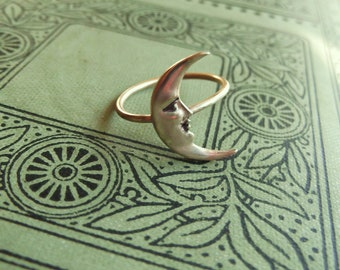 Brass Crescent Moon Ring on Antiqued Brass Band, Art Nouveau, Tattoo, Steampunk Celestial