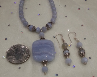 Sterling Silver & Crazy Lace Agate Necklace And Earring Set