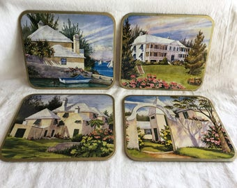 Vintage Mary Powell Bermuda Homes Cork Backed Coasters or Placemats, Lyndalware
