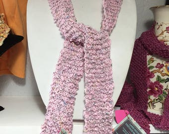 Pink Skinny Scarf, Hand Knit in Cotton Yarn