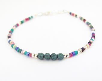 Friendship Bracelet, Multi ColorTeal, Seed Bead Bracelet, Beaded Bracelet, Teal Blue, Yoga Bracelet, Back to School, Summer Outdoor, Zen