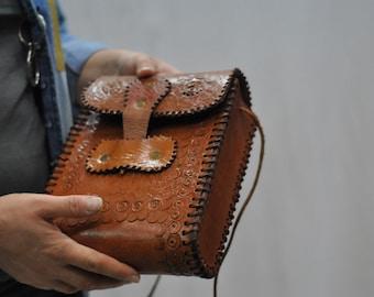 Vintage Leather handmade bag..(218)