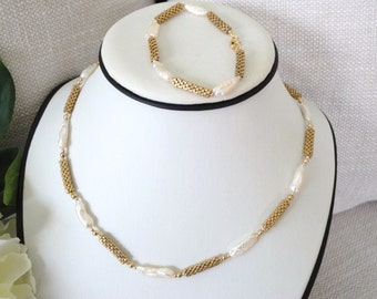 pearl necklace gold, pearl necklace set, stick pearl necklace, bracelet necklace jewelry set, seed bead jewelry, beadwork jewelry