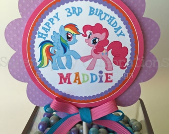 Personalized Cake Topper -Pretty Ponies- Pony small centerpiece -Birthday -Baby Shower -My little pony -Smash Cake Topper -Photo Prop -Horse