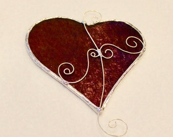 Stained Glass Heart Suncatcher - Stained Glass Suncatcher - Heart Suncatcher - Heart - Red Heart - Valentine's Day - Mother's Day - Red