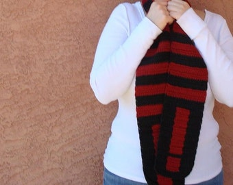 Exclamation Point Scarf - Red and Black Scarf - Striped Scarf - Crochet Scarf - Hoooked Handmade Scarves for Him or Her Men MADE TO ORDER