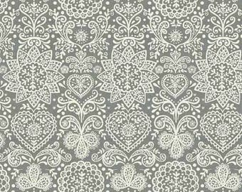 Scandi 4 - Lace Floral Silver Gray from Andover-Makower