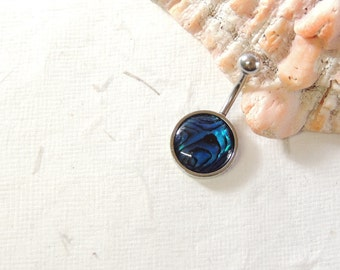 Abalone Shell Belly Button Ring, Non Dangle Belly Ring, Shell Belly Ring, Simple Belly Ring, Navel Piercings