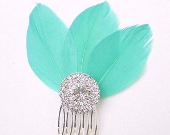 Turquoise Green Feather Fascinator Hair Comb Silver Art Deco Diamante 1920s 2353
