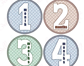 Boy Monthly Baby Stickers, 1 to 12 Months, Monthly Bodysuit Stickers, Baby Age Stickers, Pretty in Flannel  (003-3)