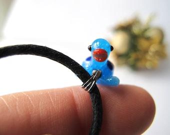 Cutie Pie Turtle Murano Glass Necklace - Blue