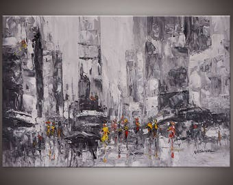 "Modern oil painting ""New York restless""Large oil paint by Netanel Moses"