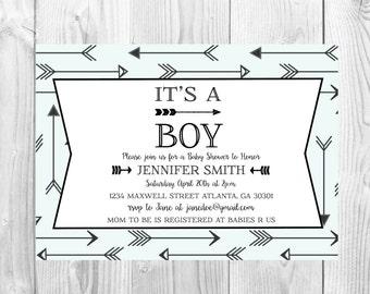 Arrow Baby Shower Invitation << Sprinkle Invite >>  It's a Boy >> Modern Baby Shower Invitation >> Custom Printable Digital File