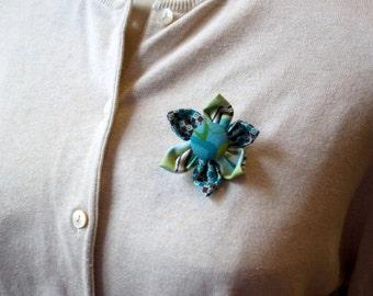 Green and Blue Fabric Flower Brooch, Flower Pin - Handmade Fabric Flower