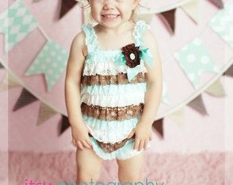 Baby Girl 1st Birthday Outfit - Ready to SHIP - Fall Photo Outfit- Ruffle Romper -Baby Girl Rompers -Ruffle Rompers - Baby Romper
