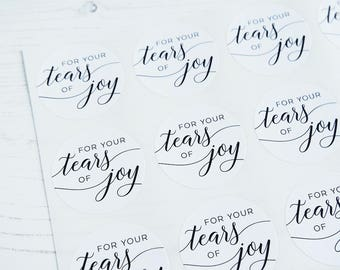 24 For Your Tears of Joy Happy Tears Tissue Stickers Wedding Labels 40mm / 274