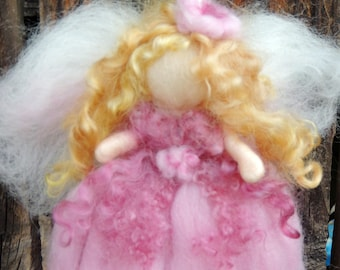 Simply Beautiful  Pink Blessing Fairy-  Needle felted wool fairy angel Waldorf inspired creation by Rebecca Varon aka Nushkie
