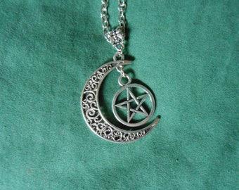 Cresent moon pentagram necklace