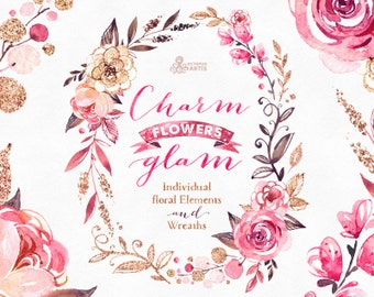 Charm And Glam. Floral Elements and Wreaths. Watercolor Clipart, individual flowers, pink, glamour, hand drawn, stickers, gold, glitter, art