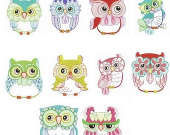 Embroidered  quilt blocks--Silly Owls