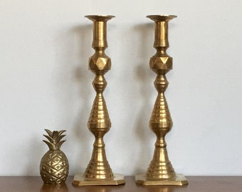 Large Vintage Brass Candlesticks Beehive Style Candle Holders Gold Metallic Chic