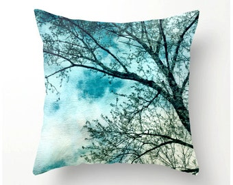 Skysweeper decorative tree pillow, square accent cushion, pillow cover, cushion cover, artistic pillow, sofa pillows, nature, home decor