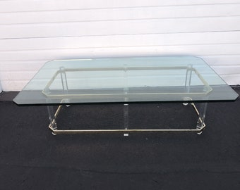 Mid Century Modern Lucite and Brass Glass Top Coffee Table 6908