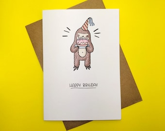 Sloth Birthday Card, Happy Birthday Card, Greetings Card,  Kids Birthday Card,  Children's Birthday Card, Illustrated Card, Birthday Cake