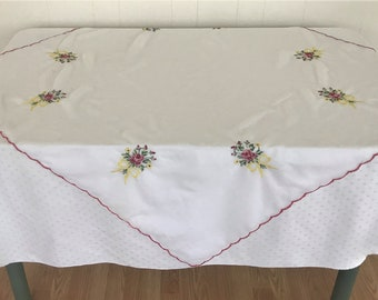 Sheer White Tablecloth With Embroidered Flowers/ 44 Inch Square Embroidered Tablecloth/ Vintage Table Linens/ Vintage Linens/ Tablecloths