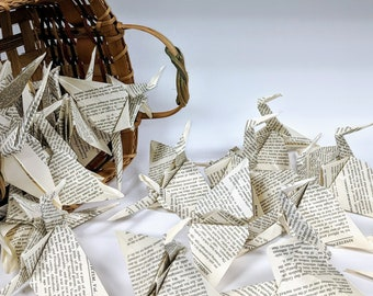 50 book page Paper Cranes
