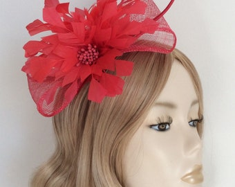STRAWBERRY RED FASCINATOR, Made with sinamay,Two feather flowers, Quill, on headband